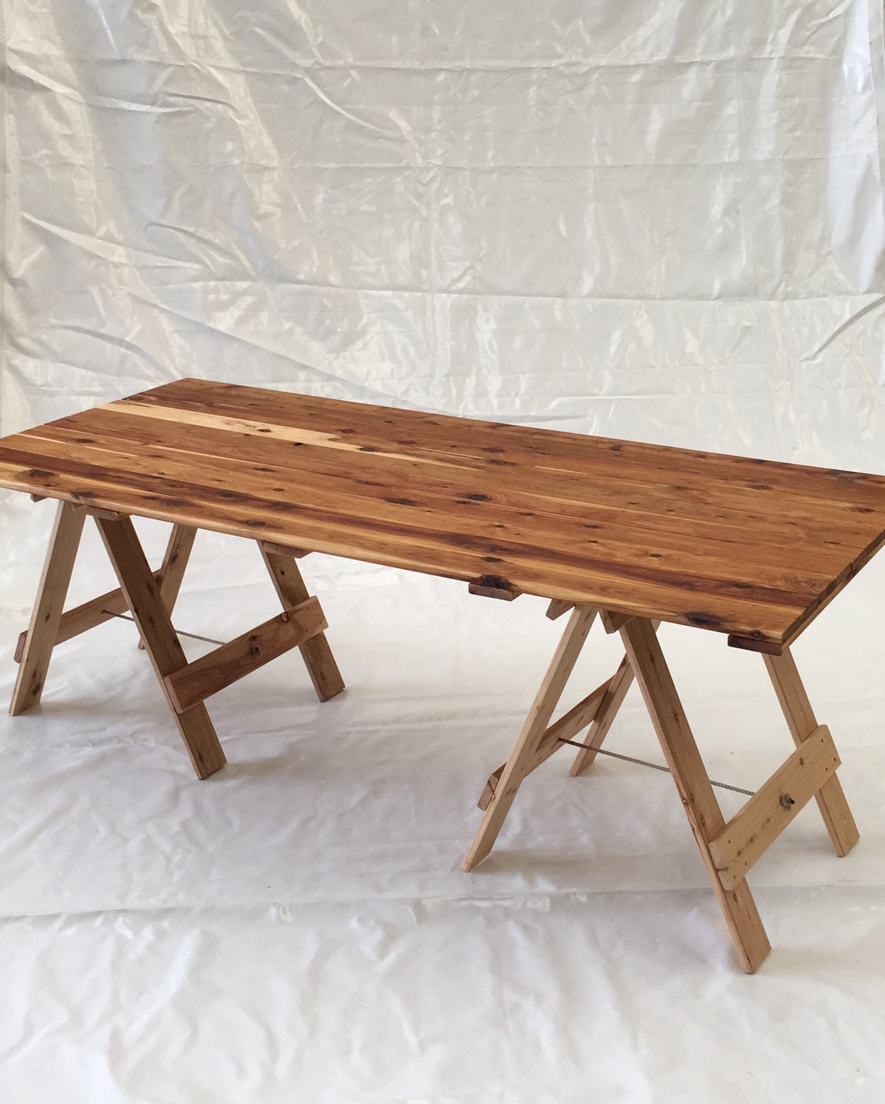 Rustic top trestle table 2m x 9m